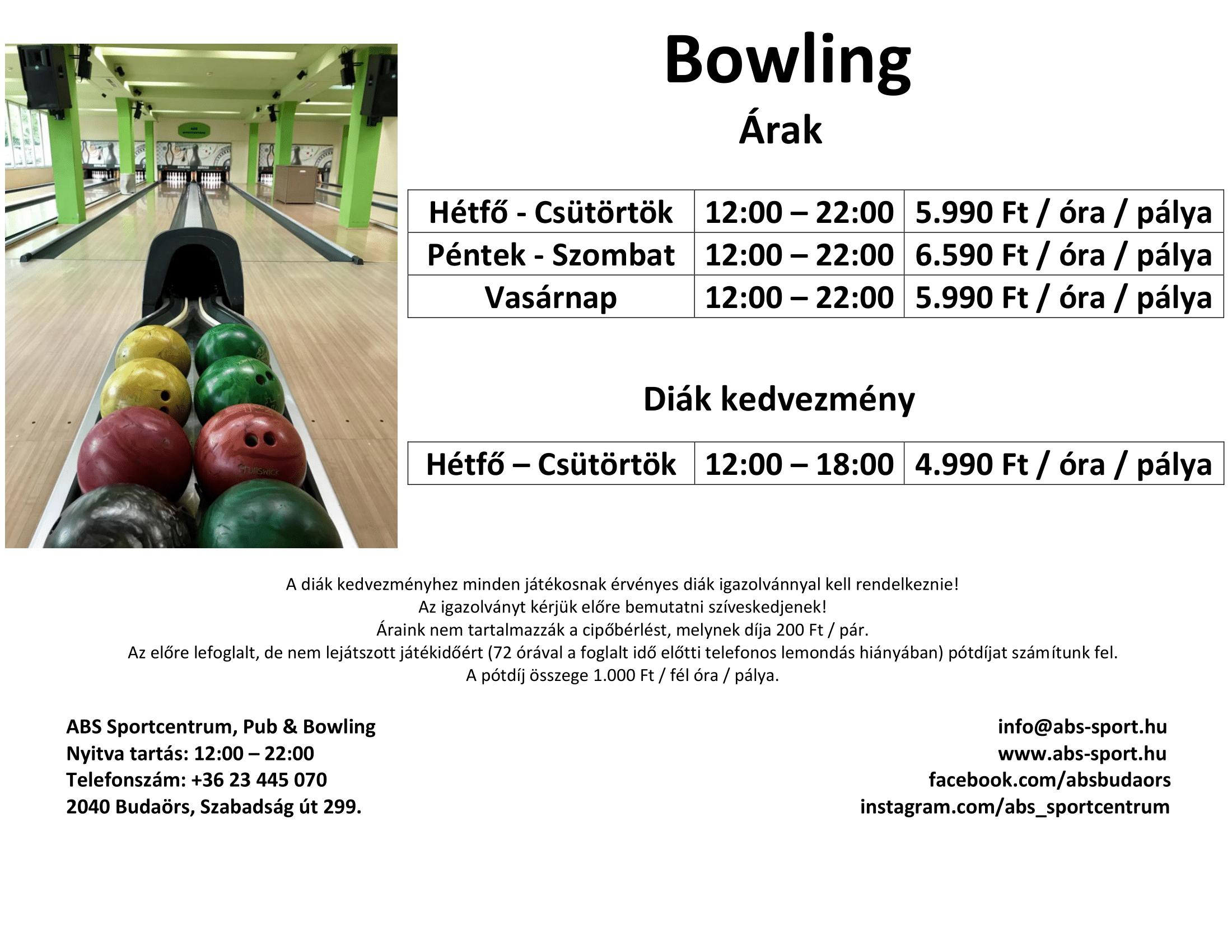 Bowling árlista 2020